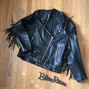 Vintage moto leather fringed jacket